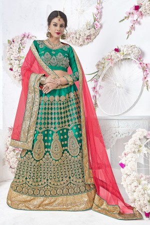 Modish Green Net Heavy Embroidery and Hand Work Lehenga Choli