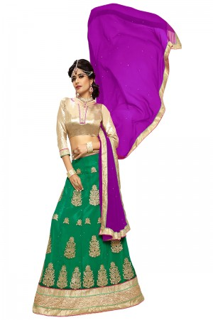 Captivating Green Chiffon Heavy Embroidery and Hand Work Lehenga Choli