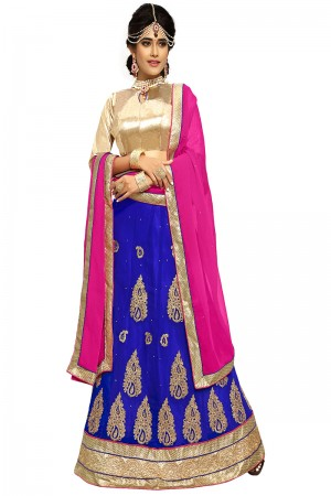 Glitzy Blue Chiffon Heavy Embroidery and Hand Work Lehenga Choli