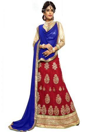 Ethnic Maroon Chiffon Heavy Embroidery and Hand Work Lehenga Choli