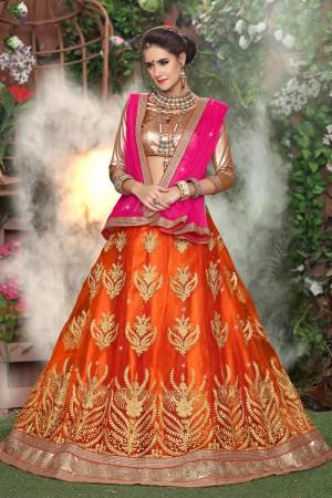 Enticing Orange Net Heavy Embroidery and Hand Work Lehenga Choli