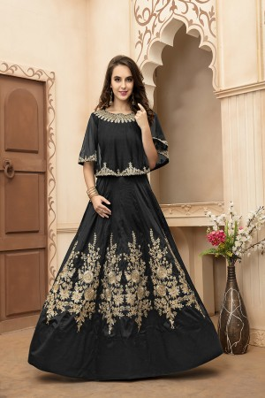 Delightful Black Tafeta Silk Embroidery Beed and Lace Work Salwar Kameez