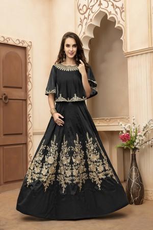 Delightful Black Tafeta Silk Embroidery Beed and Lace Work Salwar Kameez
