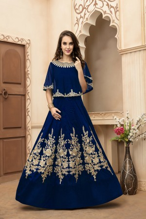 Dazzling Navy Blue Tafeta Silk Embroidery Beed and Lace Work Salwar Kameez