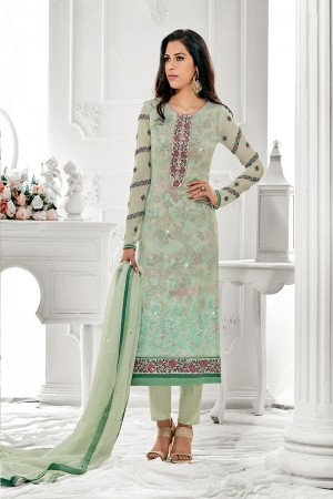 Tremendous Pista Georgette Embroidery on Neck with Lace Border Salwar Kameez