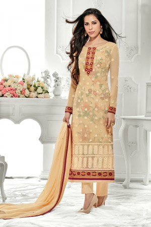 Dynamic Light Yellow Georgette Embroidery on Neck with Lace Border Salwar Kameez