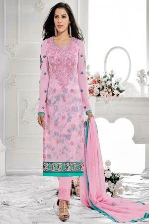 Immaculate Pink Georgette Embroidery on Neck with Lace Border Salwar Kameez