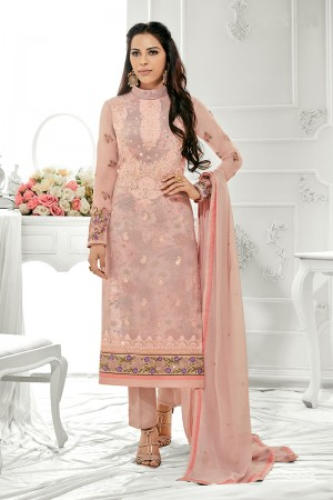 Blooming Peach Georgette Embroidery on Neck with Lace Border Salwar Kameez