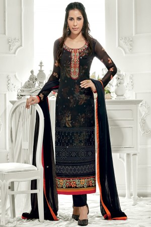 Definitive Black Georgette Embroidery on Neck with Lace Border Salwar Kameez