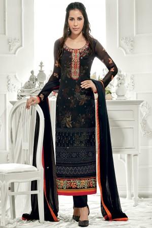 Definitive Black Georgette Embroidery on Neck with Lace Border Salwar Kameez