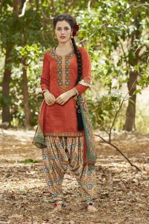 Designer Orange Pure Cotton Heavy Embroidery Digital Print Top with Digital Printed Dupatta Salwar Kameez
