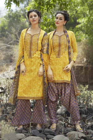 Beguiling Yellow Pure Cotton Heavy Embroidery Digital Print Top with Digital Printed Dupatta Salwar Kameez