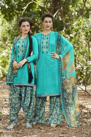 Enriching SkyBlue Pure Cotton Heavy Embroidery Digital Print Top with Digital Printed Dupatta Salwar Kameez
