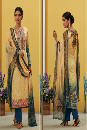Stupendous Light Yellow Pure Lawn Cotton Embroidered and Digital Printed Salwar Kameez