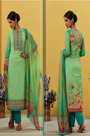 Mind Blowing Light Green Pure Lawn Cotton Embroidered and Digital Printed Salwar Kameez
