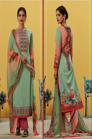 Blissful Lime Green Pure Lawn Cotton Embroidered and Digital Printed Salwar Kameez