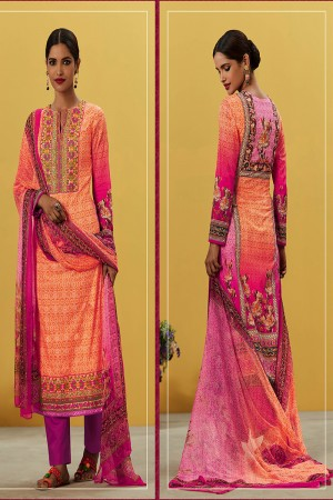 Marvelous Orange Pure Lawn Cotton Embroidered and Digital Printed Salwar Kameez
