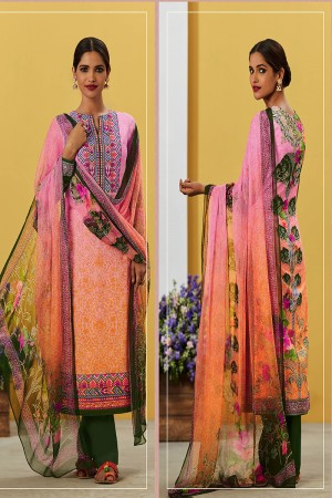 Pleasant Pink&Orange Pure Lawn Cotton Embroidered and Digital Printed Salwar Kameez
