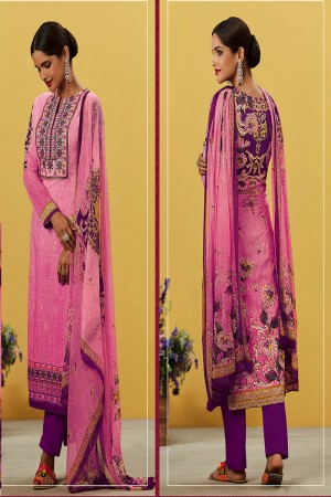 Rust Pink Pure Lawn Cotton Embroidered and Digital Printed Salwar Kameez