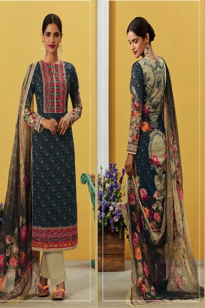 Stylish Deep Sea Pure Lawn Cotton Embroidered and Digital Printed Salwar Kameez