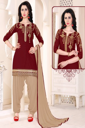 Dazzling Brown Cotton Heavy Embroidery on Neckline and Sleeve with Lace Border  Dress material