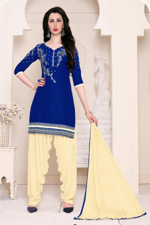 Exuberant Blue Cotton Heavy Embroidery on Neckline and Sleeve with Lace Border  Dress material