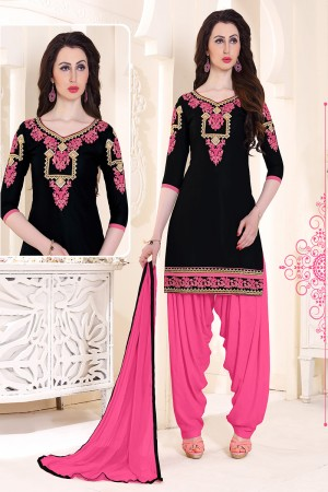 Tremendous Black Cotton Heavy Embroidery on Neckline and Sleeve with Lace Border  Dress material