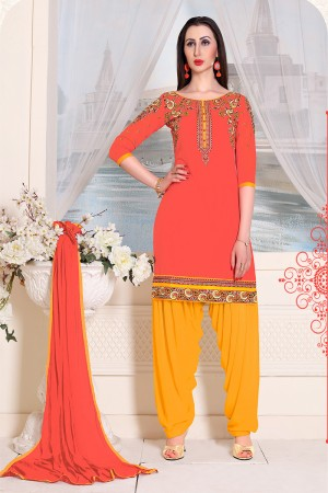 Dynamic Orange Cotton Heavy Embroidery on Neckline and Sleeve with Lace Border  Dress material