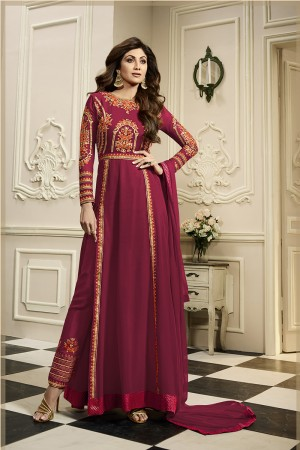 Classy Brick Georgette Heavy Embroidery on Neck and Sleeve with Embroidery in Bottom Anarkali Suit