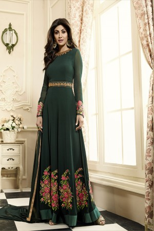 Designer Deep Sea Georgette Heavy Embroidery on Neck and Sleeve with Butta Work in Panel Anarkali Suit