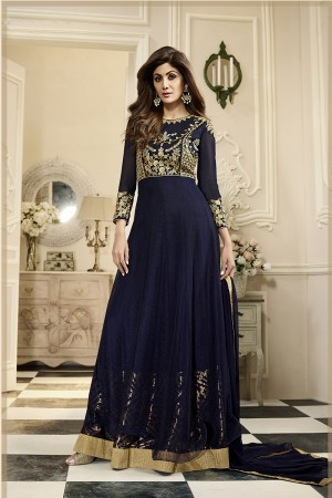 Alluring Royal Blue Georgette Heavy Embroidery on Neck and Sleeve with Gold Folied Inner Anarkali Suit