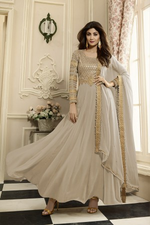 Enriching Bone Georgette Heavy Embroidery on Neck and Sleeve with Lace Border Dupatta  Anarkali Suit