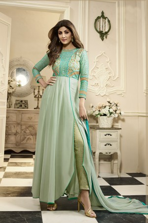 Fantastic Cyan Georgette Heavy Embroidery on Neck and Sleeve with Brocked Bottom Anarkali Suit