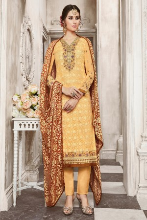 Striking Marigold Georgette Heavy Embroidery on Neck with Schiffly Work Top Salwar Kameez