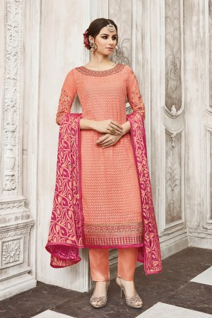 Enchanting Peach Georgette Heavy Embroidery on Neck with Schiffly Work Top Salwar Kameez