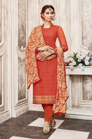 Ethereal Dark Orange Georgette Heavy Embroidery on Neck with Schiffly Work Top Salwar Kameez