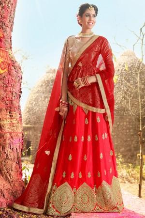 Dreamy Red Banglori Silk Heavy Embroidery and Hand Work Lehenga Choli