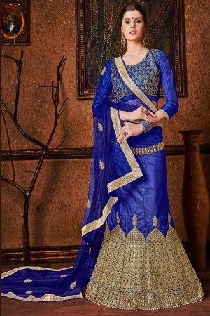 Exquisite Blue Banglori Silk Heavy Embroidery and Hand Work Lehenga Choli
