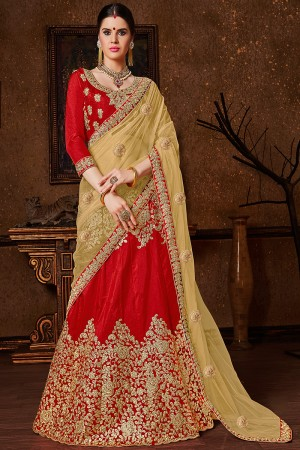 Contemporary Red Banglori Silk Heavy Embroidery and Hand Work Lehenga Choli