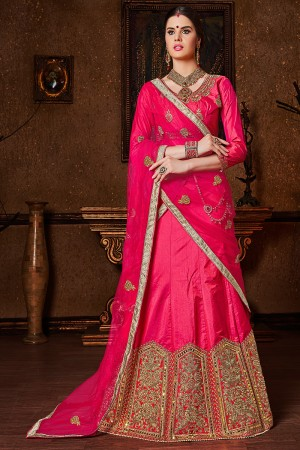 Brilliant Pink Banglori Silk Heavy Embroidery and Hand Work Lehenga Choli