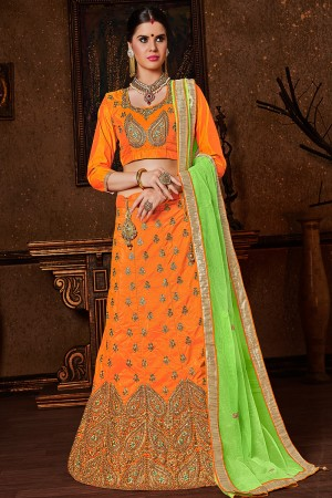 Creative Mustard Banglori Silk Heavy Embroidery and Hand Work Lehenga Choli