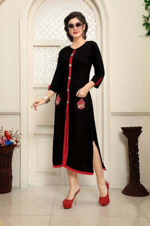 Elegant Black Rayon Embroidery on Pocket with Handmade Buttons Kurti