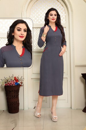 Outstanding Grey Rayon Embroidery Work with Handmade Buttons Kurti