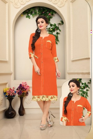 Enigmatic Orange Rayon Handmade Buttons with Print work Kurti
