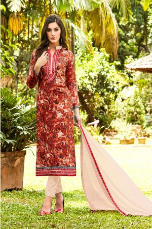 Delightful Red Pure Cotton Neckline Embroidery   Dress material
