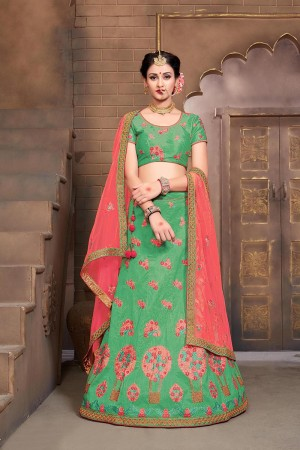 Majestic Apple Green Mulberry Silk Designer Heavy Embroidery Work Lehenga Choli