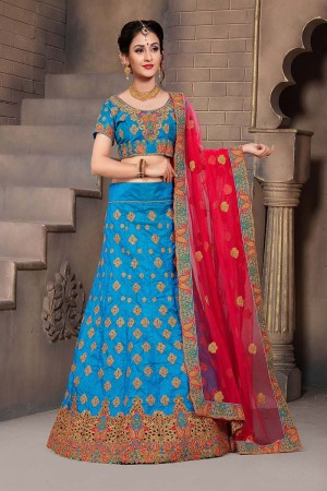 Glamorous Blue Mulberry Silk Designer Heavy Embroidery Work Lehenga Choli