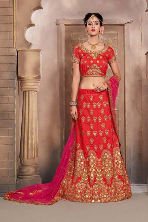 Dashing Red Mulberry Silk Designer Heavy Embroidery Work Lehenga Choli