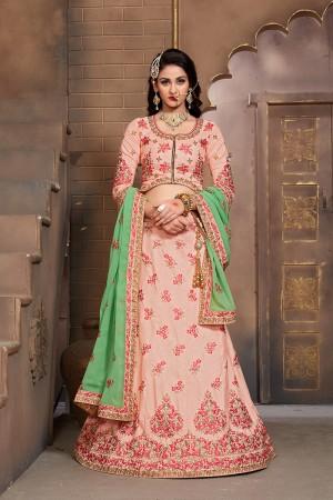 Trendy Peach Mulberry Silk Designer Heavy Embroidery Work Lehenga Choli