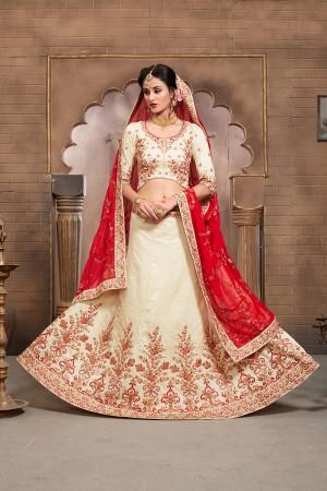 Charming Off White Mulberry Silk Designer Heavy Embroidery Work Lehenga Choli